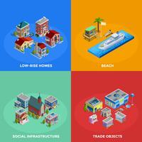 Isometrische Stadt 2x2 Icons Set