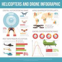 helikoptrar och drone infographics