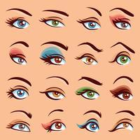 Ställ in ögonmakeupsymboler vektor