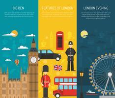 London Sightseeing 3 vertikale Banner gesetzt