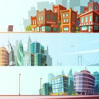 City Skyline 3 Horisontell Banners Set vektor