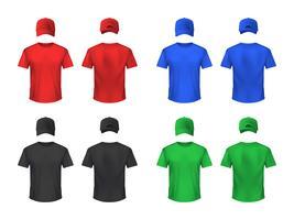 Basebal cap och Tshirt Färgade uppsättningar vektor