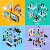 Isometrische Vorlage für Mediennetzwerke