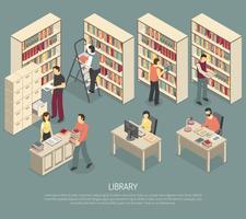 Dokumentbibliothek-Archiv-Innen-isometrische Illustration