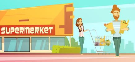Supermarkt einkaufen Retro-Cartoon-Plakat im Freien