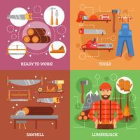 Holzfäller und Werkzeuge für das Bearbeiten des Holzes vektor