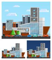 köpcentrum byggnadskompositioner uppsättning vektor