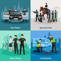Konzept der Polizei-Leute-flachen 2x2 vektor