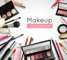 Makeup Kosmetika Tillbehör Realistisk Sammansättning Poster vektor