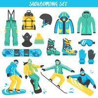 Snowboardausrüstung farbiger Satz