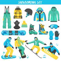 Snowboardausrüstung farbiger Satz vektor