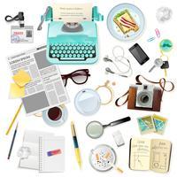 Vintage Zubehör für Journalist Schriftsteller Schreibmaschine vektor