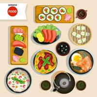 Japanisches Lebensmittel-Draufsicht-Set