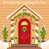 Nyårskort med hus dekorerade för jul