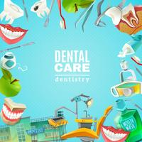 Dentalsorgfalt-flaches Rahmen-Hintergrundplakat