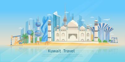 Kuwait skyline platt affisch vektor