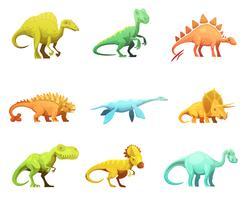 Dinosaur Retro tecknade tecken ikoner samling vektor