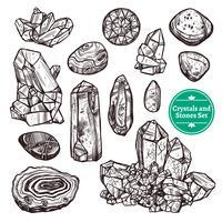 Kristalle und Steine eingestellt vektor