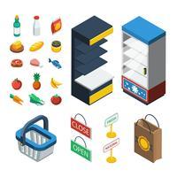 snabbköp isometrisk ikonuppsättning