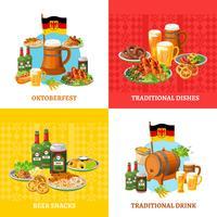 Oktoberfest koncept 4 platta ikoner torget vektor