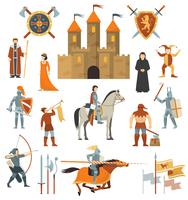 Mittelalterliche dekorative Icons Set
