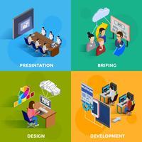 Isometrisches Designkonzept der Entwicklung 2x2