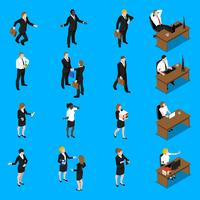 Affärsmän arbetar med isometriska ikoner