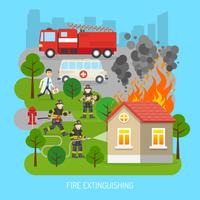 Feuerwehrmänner am Arbeits-Konzept-flachen Plakat