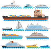 Vatten Transport Plattor Dekorativa Ikoner Set vektor