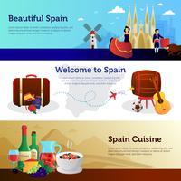 Spanien Välkommen Resande Banners Set vektor