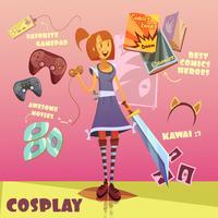 Cosplay Karaktär Illustration vektor