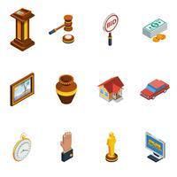 Isometrische Auktion Icon Set
