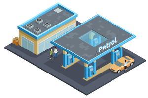 Isometrisk bildaffisch för bensinstationskomplex