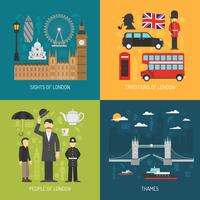 London koncept 4 platta ikoner torget vektor