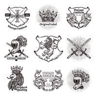 Heraldiska Emblem Set vektor