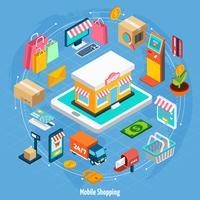 Isometrisches Konzept für mobiles Einkaufen vektor