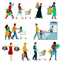 Shopping Människor Ikoner Set