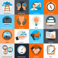 mentorskap coaching koncept ikoner uppsättning vektor