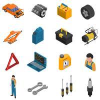 Bilservice Isometrisk isolerad ikonuppsättning