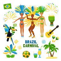Brasilien Karneval isolerad ikonuppsättning