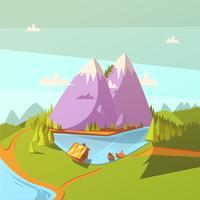 Wandern an einem See-Hintergrund vektor