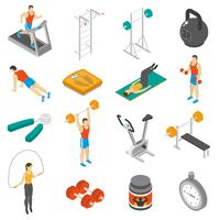 Fitness Isometric Ikoner Set vektor
