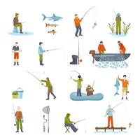 Fiske Människor Fisk Och Verktyg Ikoner Set