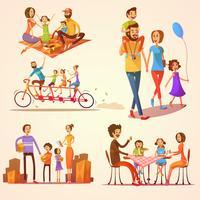 Familj Retro Cartoon Set