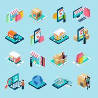 Mobiles Einkaufen isometrische Icons Set