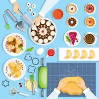 Bäckerarbeitsplatz-Draufsicht eingestellt