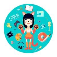 Cosplay Character Tillbehör Flat Round Illustration