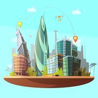Modernt City Downtown konceptaffischtryck