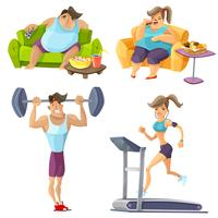 Övervikt och hälsouppsättning vektor