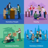 Obdachlose Icons Set
